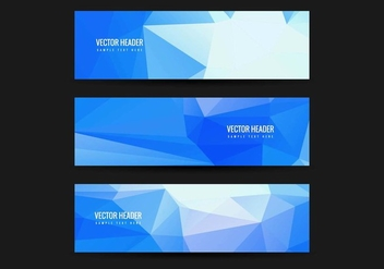 Free Vector Blue Polygonal Headers set - Free vector #428051