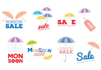 Monsoon Sale Vector Labels - бесплатный vector #428091
