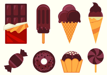 Set Of Chocolate Food Vectors - vector gratuit #428121
