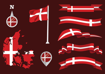 Danish Flag Set Free Vector - Kostenloses vector #428161