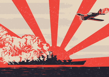 World War II Kamikaze Plane Vector - vector #428211 gratis