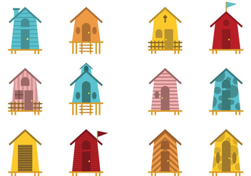 Fun Decorative Beach Hut Vectors - vector gratuit #428221