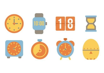 Free Flat Time Icons Vector - Kostenloses vector #428271