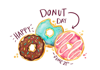 Cute Donuts Set With Lettering To Donut Day - vector gratuit #428281
