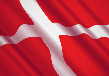 Danish Flag In The Wind Vector - Free vector #428361