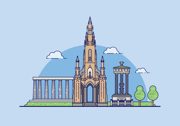 Edinburgh Landmark Illustration - vector #428421 gratis