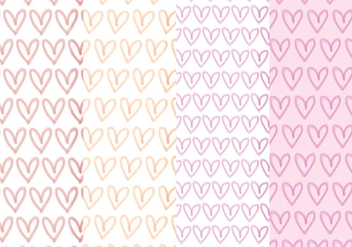 Vector Hand Drawn Hearts Patterns - Free vector #428501