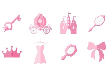 Free Flat Pink Princess Element Collection Vector - Kostenloses vector #428511