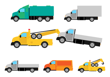 Flat Camion Truck Vector Set - Free vector #428581