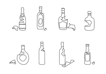 Broken Bottle Outline Free Vector - vector gratuit #428611
