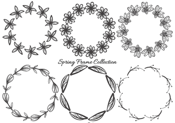 Cute Sketchy Spring Frames Collection - Kostenloses vector #428621