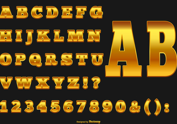 Elegant Gold Alphabet Collection - vector gratuit #428631
