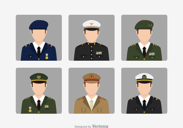 Free Vector Military Brigadier Avatars - vector gratuit #428731