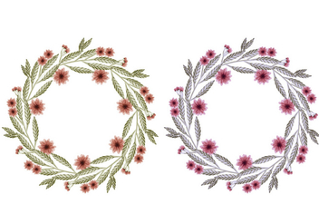 Vector Hand Drawn Floral Wreaths - Kostenloses vector #428971
