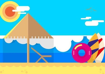 Playa Beach Flat Illustration - Free vector #429001