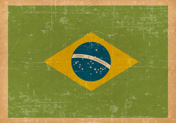 Flag of Brazil on Old Grunge Background - Free vector #429011