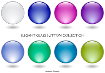 Colorful Glass Button Collection - vector gratuit #429031