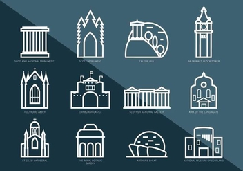 Vector Pictograms of Interesting Places in Edinburgh - Free vector #429041