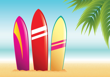 Surfboard Summer Beach Vector - Free vector #429051