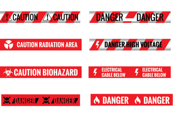 Set of Different Seamless Red and White Caution Tapes - Kostenloses vector #429061
