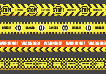 Red and Yellow Warning Tape Vectors - бесплатный vector #429071