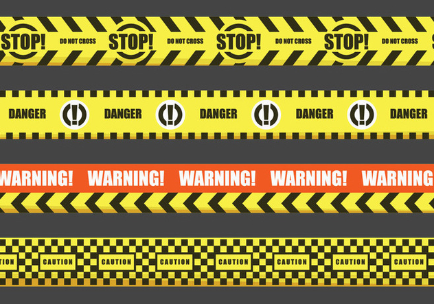 Red and Yellow Warning Tape Vectors - vector #429071 gratis