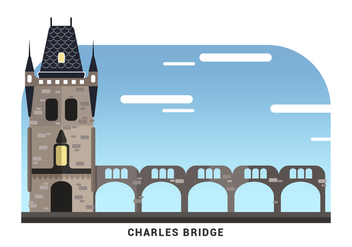 Prague Landmark The Charles Bridge Vector Illustration - vector gratuit #429121