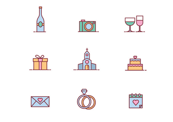 Beautiful Wedding Icon Vectors - vector #429131 gratis