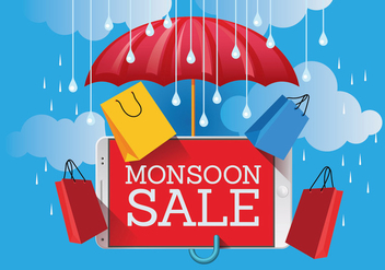 Vector Monsoon Sale Banner Poster with Gadget and Umbrella - бесплатный vector #429191