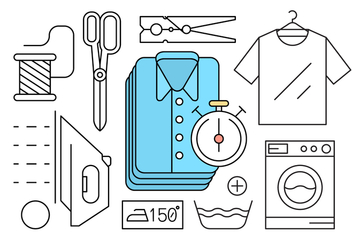 Free Linear Style Laundry Icons - Free vector #429361