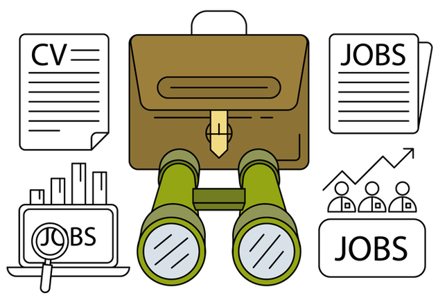 Linear Job Hunting Icons - vector gratuit #429401