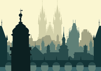 Prague Silhouette Background Free Vector - vector gratuit #429411