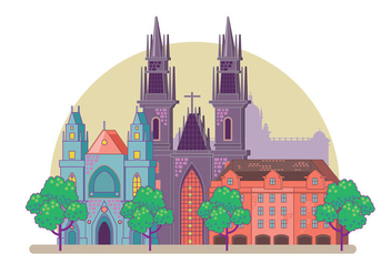 Prague City Skyline - vector #429611 gratis