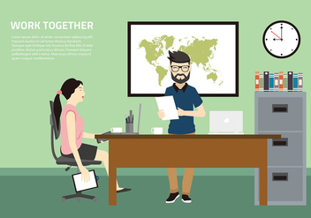 Work Together Office Free Vector - Kostenloses vector #429631