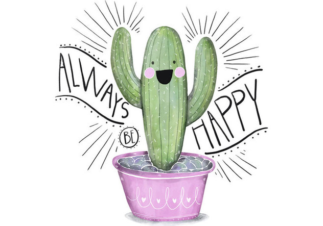 Cute Pink and Green Succulent Illustration Character Watercolor With Quote - Free vector #429641