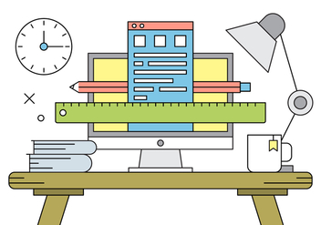 Free Vector Illustration with Office Desk. - Free vector #429681