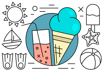 Free Linear Summer Icons - vector #429701 gratis