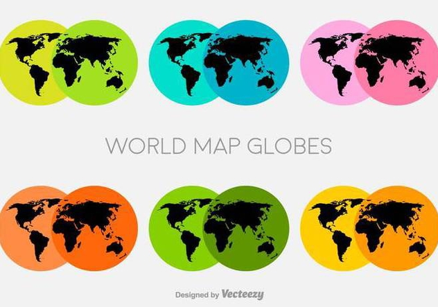Vector Colorful World Map Icons - Free vector #429851