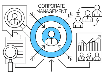 Linear Corporate Management and Business Elements - vector #430051 gratis