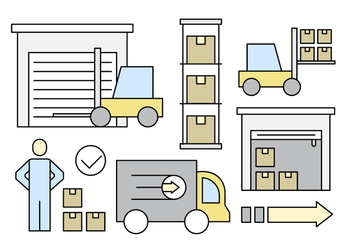 Linear Warehouse Storage Vector Elements - vector gratuit #430081