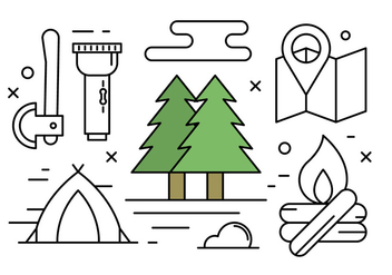 Free Linear Camping and Nature Vector Elements - Free vector #430151