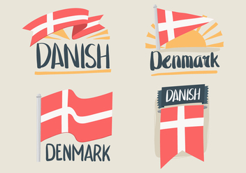 Hand Drawn Danish Flag Vectors - бесплатный vector #430181