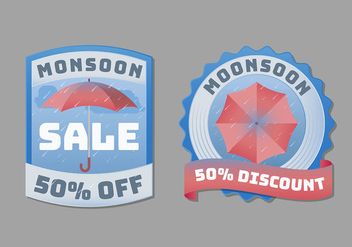 Monsoon Badge or Label Collection - Free vector #430191