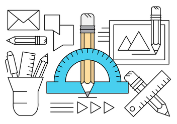 Linear Drawing Equipment Icons - vector #430251 gratis