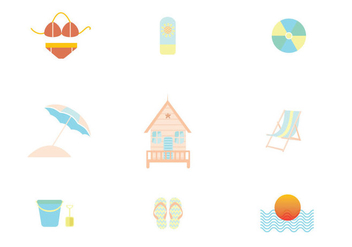 Summer Vacation Icon Set - vector gratuit #430291