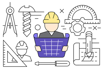 Linear Construction Engineering Vector Icons - vector gratuit #430381