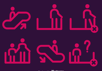 Pink Escalator Element Icons Vector - Free vector #430401
