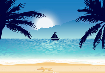 Beautiful Beach Illustration - Free vector #430471