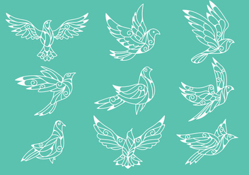 Dove or Paloma Peace Symbols Paper Cut Style Vectors - Free vector #430521
