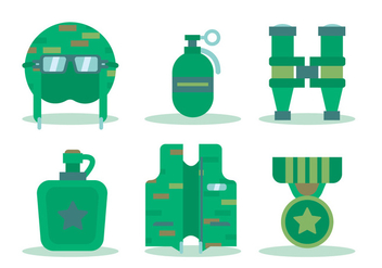 War and Soldier Tool Vectors - Free vector #430541